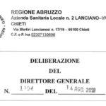 Delibera 1004 14/8/2018 ASL 2 Lanciano Vasto Chieti – PDTA Sclerosi Multipla