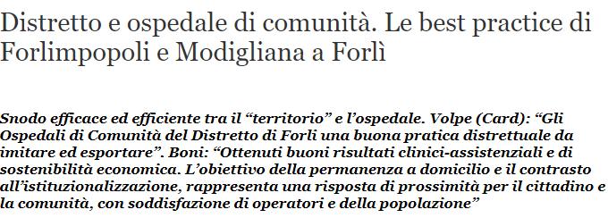 [QS] Distretto E Ospedale Di Comunità. Le Best Practice Di Forlimpopoli E Modigliana A Forlì