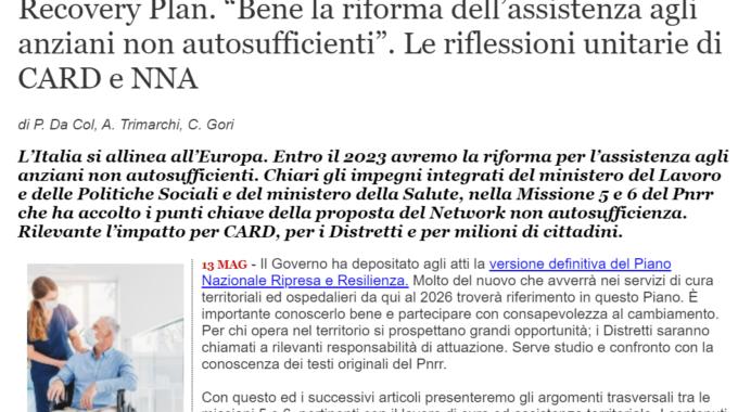"""[QS] Recovery Plan: """"Bene La Riforma Dell'assistenza Agli Anziani Non Autosufficienti"""". Le Riflessioni Unitarie Di CARD E NNA"""