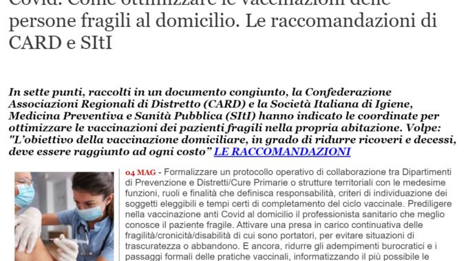 [QS] Covid: Come Ottimizzare Le Vaccinazioni Delle Persone Fragili Al Domicilio. Le Raccomandazioni Di CARD E SItI