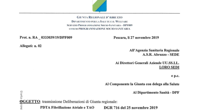 Deliberazioni Regione Abruzzo: PDTA Fibrillazione Atriale/TAO E PDTA Apnee Ostruttive Del Sonno
