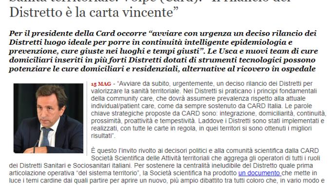 """Sanità Territoriale: Volpe (CARD): """"Il Rilancio Del Distretto È La Carta Vincente"""" [QS]"""