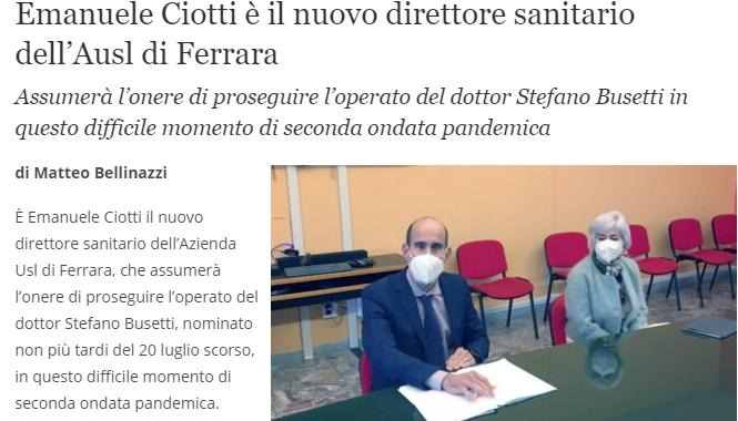 Emanuele Ciotti Nuovo Direttore Sanitario Dell'Ausl Di Ferrara