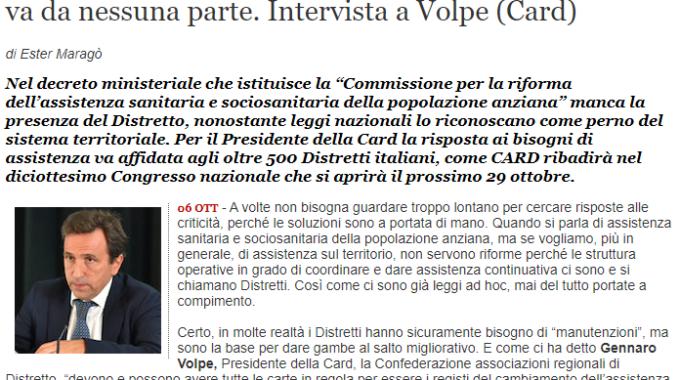 """[QS] Assistenza Territoriale: """"Senza Il Distretto Non Si Va Da Nessuna Parte"""". Intervista Al Dott. Volpe (CARD)"""